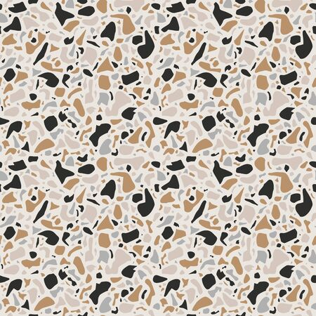 Terrazzo background texture. Vector seamless pattern. Natural stone, glass, quartz, concrete, marble. Classic italian type of floor. Terrazzo design.