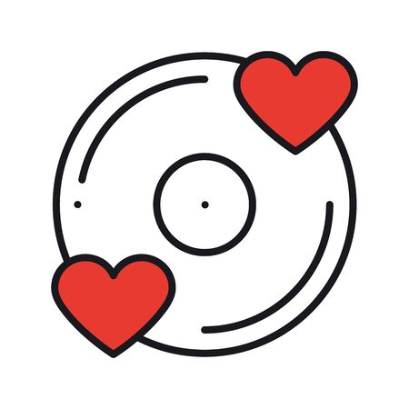 Vinyl line icon. Favorite song. Vinyl record disco dance nightlife club DJ disk party theme. Sign and symbol. Vector illustration 向量圖像