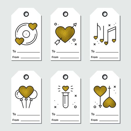 Gold gift tags design on white background. Love, romantic, wedding, heart theme. Printable St Valentine's day collection in line style