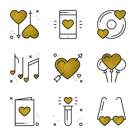 Love icons in gold. Heart shape vector illustration. Love couple, relationship, dating wedding, romantic, amour concept theme. Unique Valentine day elements