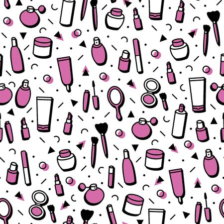 Cosmetic products seamless pattern. Cartoon make up background. Lipstick, mascara, perfume, eyeshadows. Makeup and beauty care template for shops in line style. Beauty vector illustration. Fashion 向量圖像
