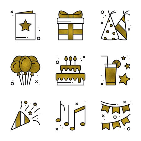 Birthday party icons set in gold. Golden birthday symbols and basic party elements on white background. Holidays, event, carnival, festive concept theme. Vector illustration in line style