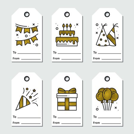 Golden birthday tags design on white background. Collection of party greeting cards in gold. Cute set for anniversary or birthday. Holidays, event, carnival, festive concept theme. Vector illustration