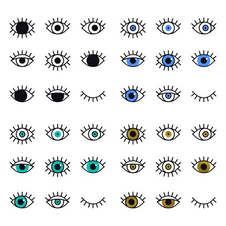 Open and closed eyes line icons set on white background. Look, see, sight, view sign and symbol. Vector linear graphic element. Optical and search theme in minimal design style. Eye with eyelashes
