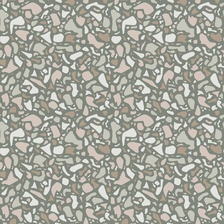 Terrazzo background texture. Vector seamless pattern. Green natural stone, glass, quartz, concrete, marble. Classic italian type of floor. Terrazzo design 向量圖像