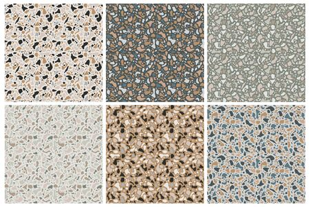 Set of terrazzo background textures. Vector seamless patterns. Natural stone, glass, quartz, concrete, marble. Classic italian type of floor. Terrazzo design elements Vettoriali