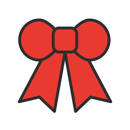 Red gift bow line icon. Vector illustration. Simple ribbon symbols. Tape element