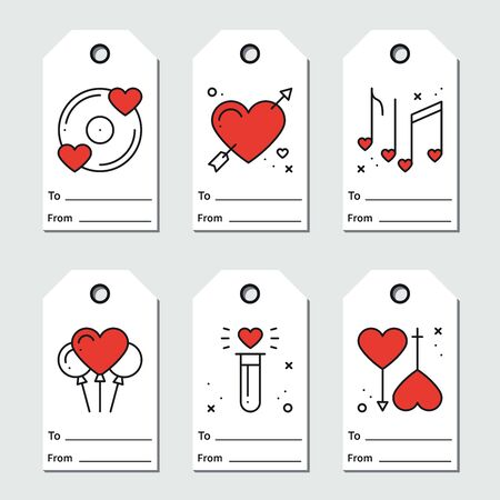 Gift tags design on white background. Love, romantic, wedding, heart theme. Printable St Valentine s day collection in line style