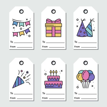 Birthday tags design on white background. Collection of party greeting cards in line style. Cute set for anniversary or birthday 向量圖像