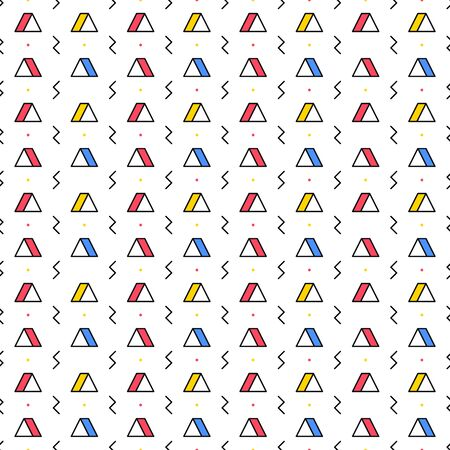 Triangle with lightning on white background. Seamless repeating pattern. Geometric abstract texture. Minimal memphis design. Vector illustration