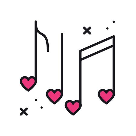 Music notes with hearts line icon. Disco, dance, nightlife, club, party theme. Happy Valentine day sign and symbol