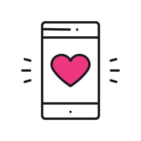 Smartphone with heart emoji message on screen. Love confession. Love, relationship, holiday, romantic, messaging, mobile phone, sms message theme