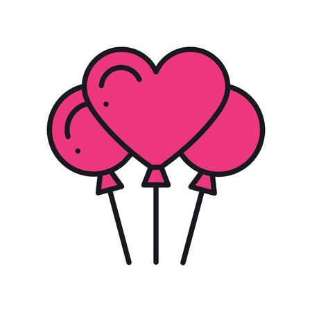Heart shaped balloon icon. Air balloon sign and symbol. Love, relationship, wedding, romantic, party, celebration birthday theme 向量圖像