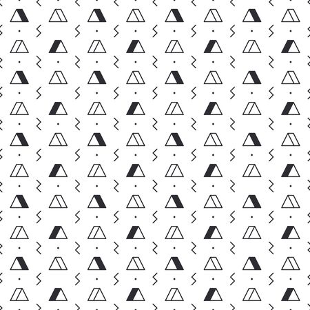 Triangle pattern with lightning on white background. Seamless repeating pattern. Geometric abstract texture. Minimal memphis design. Vector illustration