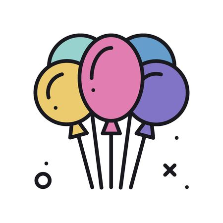 Balloon, air balloon line icon. Birthday relationship wedding holiday party celebration theme