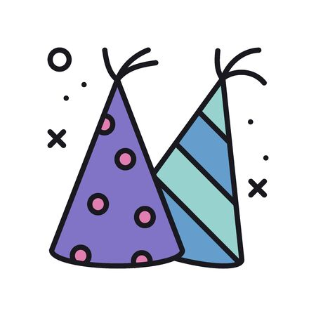 Party cone hats line icon. Party, birthday holidays celebration, carnival, festive theme. Party basic element. Vector illustration. Congratulation