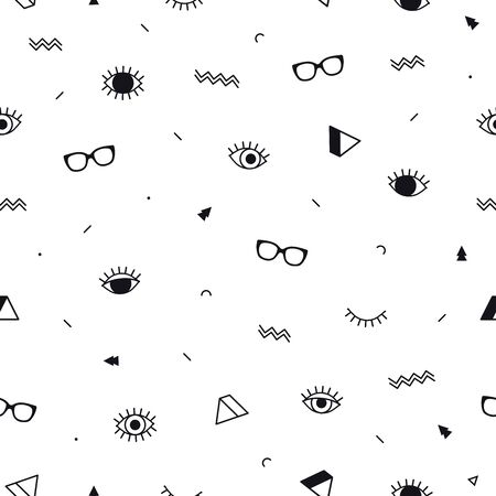 Glasses eyes seamless pattern on white background and geometric shapes in memphis style. Eyeglasses. Vector illustration. Fashion background in minimal design.