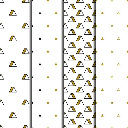 Gold triangles patterns set on white background. Abstract seamless repeating patterns. Minimal design with golden glittering geometric shapes. Vector illustration.