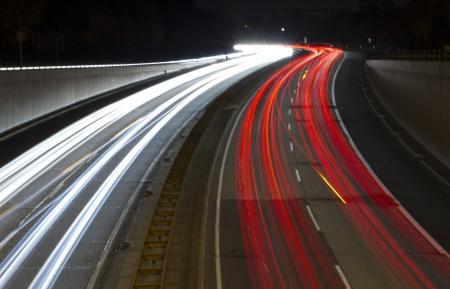 multiple exposure: Night Road Stock Photo