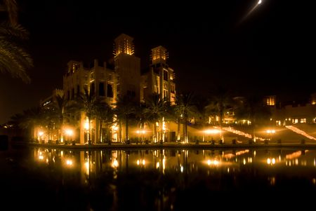 windtower: View of the Madinat Jumeihra at night