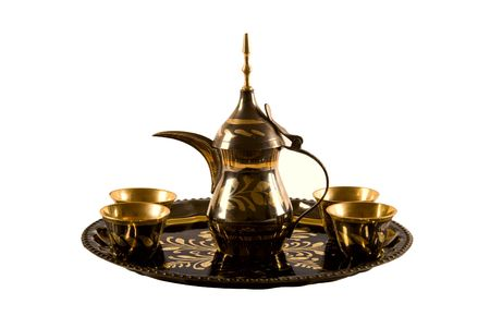 arabic coffee: Traditional arab coffee set on white background