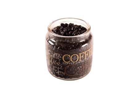 Coffe beans in a coffee can on white background photo