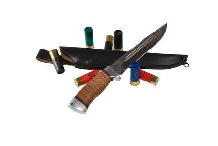 sheath: The hunting knife, sheath and cartridges on a white background