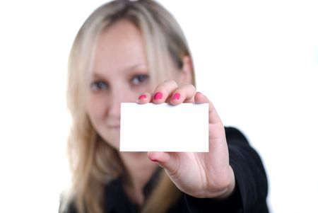 young woman showing his business card, focus on fingers and card. Stock Photo