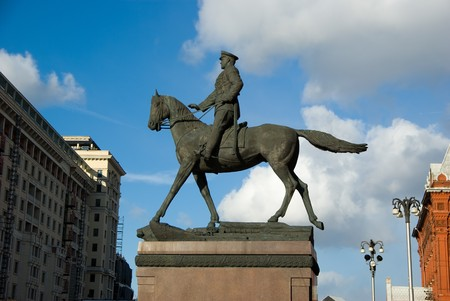 square root: Monument to George Zhukov on red square in Moscow Stock Photo