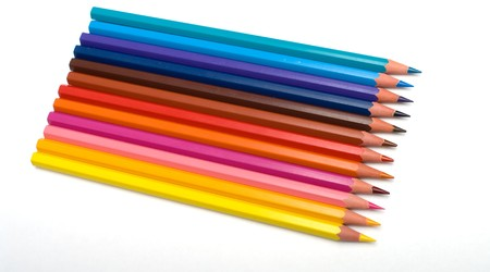 Set of colour pencils on a white background