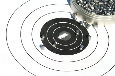 The punched target and bullets for a airgun photo