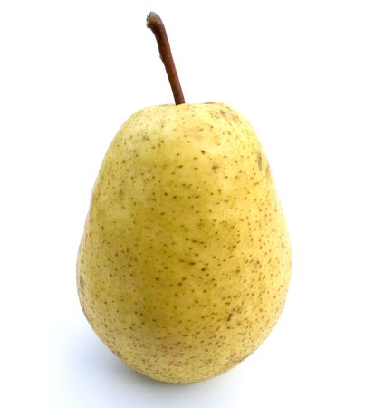 Ripe yellow pear on a white background a close up. Stock Photo - 5639534