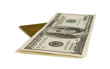 denominations: Dollar denominations and credit card it is isolated on a white background.