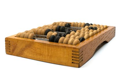 Ancient wooden abacus a close up  isolated on a white background.