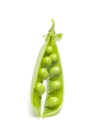 Open pod of peas it is isolated on a white background.