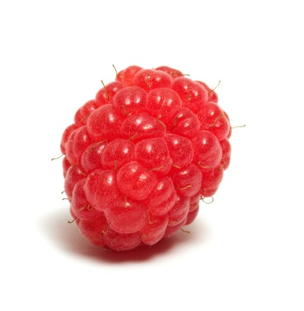 Raspberry closeup isolated on a white background.