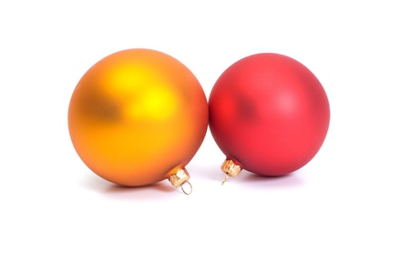 Red and yellow Christmas balls on white background. Stock Photo - 8443563