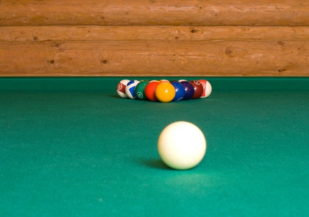Pool balls on a billiard table before the starting hit.  Stock Photo