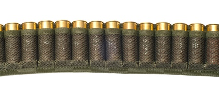 Bandolier of bullets is isolated on a white background.