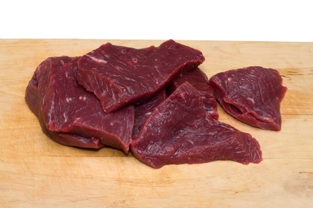 Piece of beef on a wooden cutting board. photo