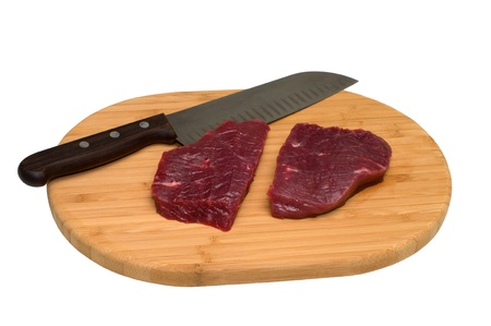 Piece of beef and a knife on a wooden cutting board. photo