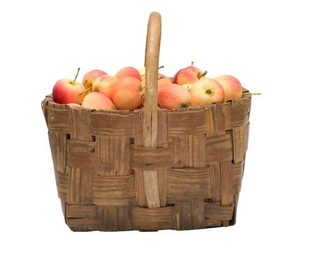 Wattled basket with ripe apples it is isolated on a white background. Stock Photo - 10443589