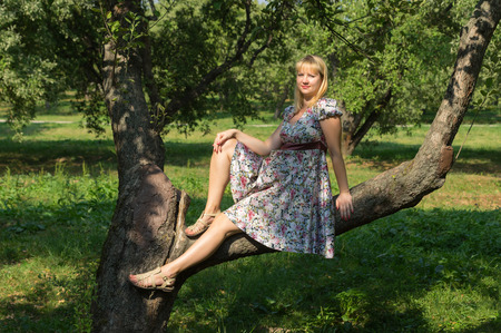 Pregnant woman sitting in a tree on sunny day