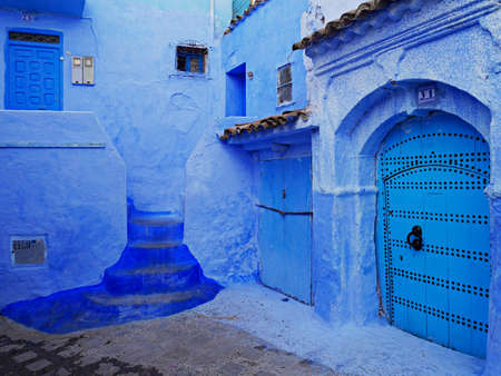 Blue colorful moroccan yard in shades of blue