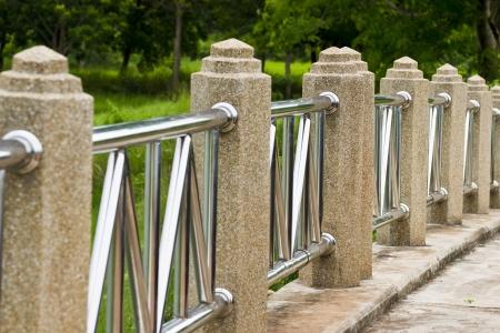 backstop: Bridges, fences, concrete pillars  Stock Photo