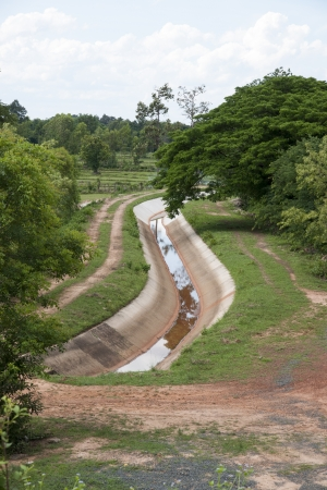 gabion: Water diversion canal Stock Photo