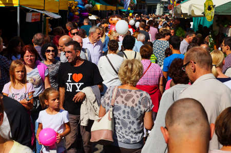 Zielona Gora, Lubuskie, Poland - 09/12/2015: Wine Feast - celebrated every year in September in Zielona Gora. The tradition is over 100 years old. A procession and occasional fair. Crowds of people, vol