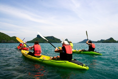 traveler kayaking in the thai