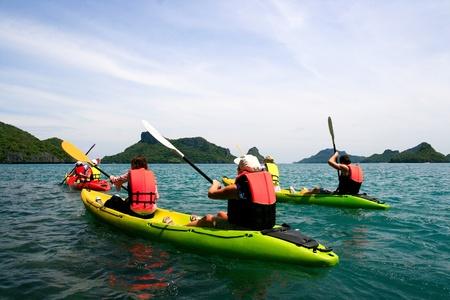 traveler kayaking in the thai