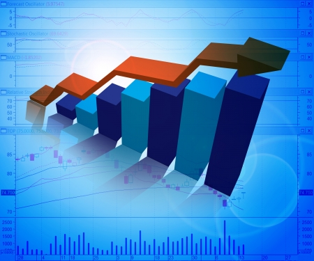 3d from illustration of business graphs background, blue colors illustration